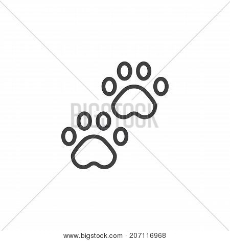 Pawprints line icon, outline vector sign, linear style pictogram isolated on white. Paw symbol, logo illustration. Editable stroke
