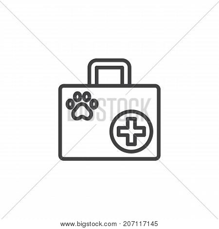 Pet first aid line icon, outline vector sign, linear style pictogram isolated on white. Symbol, logo illustration. Editable stroke