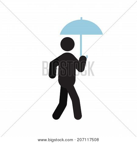 Man walking under umbrella silhouette icon. Bad weather. Raining. Isolated vector illustration