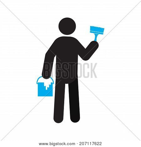Man with paint and brush silhouette icon. Building worker. Renovation and repair. Isolated vector illustration. Construction