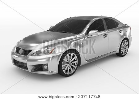 Car Isolated On White - Silver, Tinted Glass - Front-left Side View