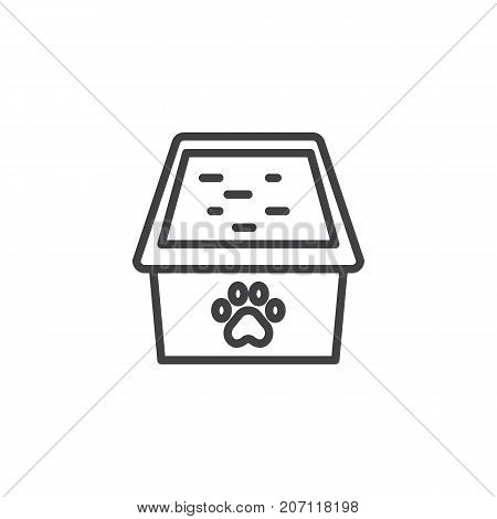 Cat box line icon, outline vector sign, linear style pictogram isolated on white. Symbol, logo illustration. Editable stroke