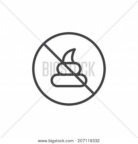 No poo line icon, outline vector sign, linear style pictogram isolated on white. Symbol, logo illustration. Editable stroke