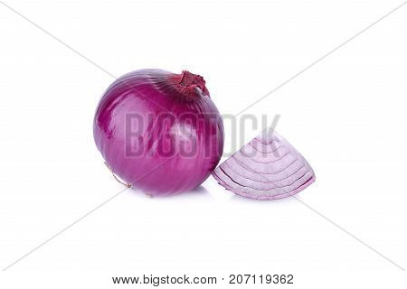 fresh shallot or red onion on white background