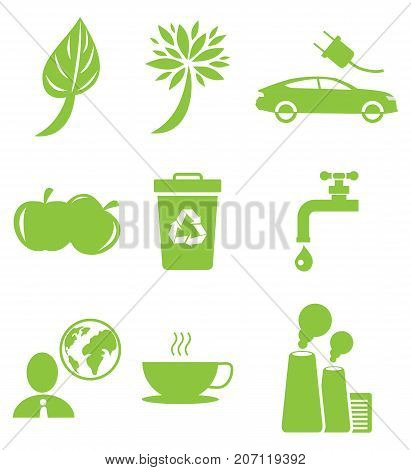 Ecology green icons collection isolated on white. Vector poster in flat design of signs presenting healthy lifestyle for nature