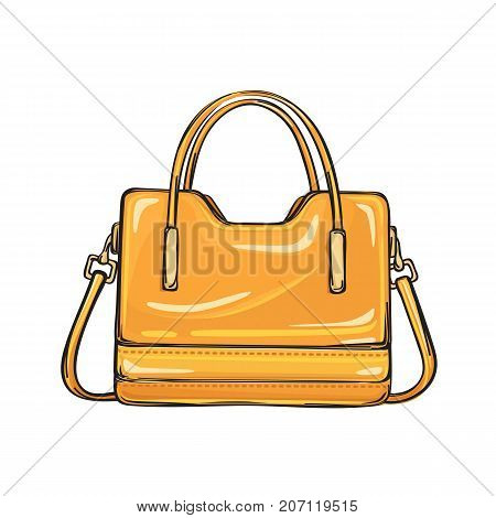 Trendy orange women bag with three handlers of different length isolated on background. Fashionable accessory for elegant and casual outfits. Vector illustration of spacious handbag.