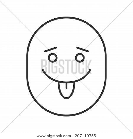 Yummy smiley with open eyes linear icon. Tease smiley thin line illustration. Silly, goofy, foolish face. Contour symbol. Vector isolated outline drawing