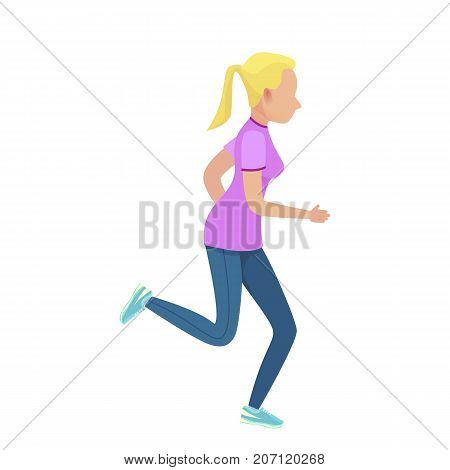 Young blonde girl running vector illustration. Shapely female dressed in purple t-shirt, blue leggings and navy sneakers.