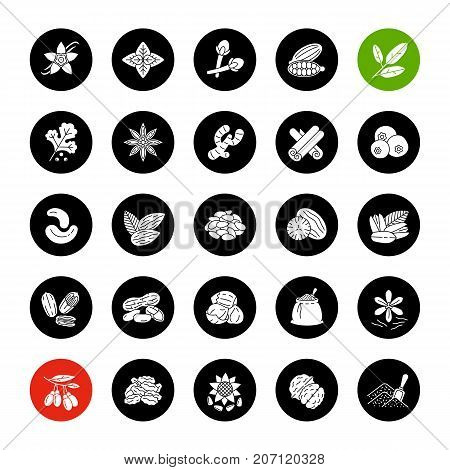 Spices glyph icons set. Flavoring, seasoning. Basil, vanilla, hazelnut, coriander, cardamom, goji berries. Vector white silhouettes illustrations in black circles