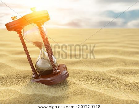 Hourglass clock on sand of desert background. 3d illustration