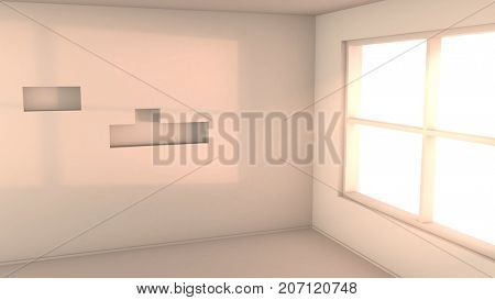 Empty white room with sunset light from the window. Computer generated background. 3D rendering