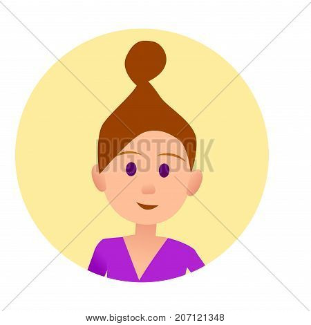 Woman with hair in beam in round button avatar user pic on white background vector illustration. Cheerful cartoon lady with bun