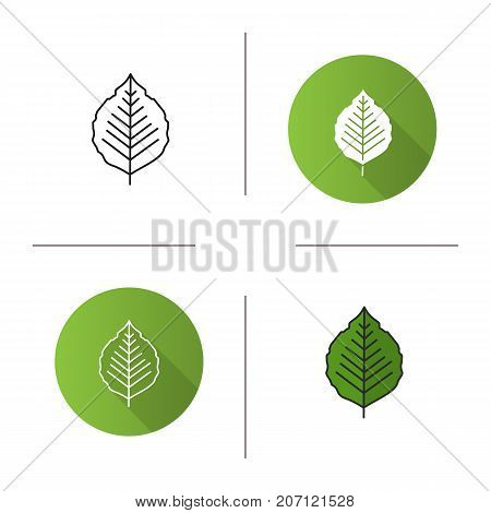 Poplar leaf icon. Flat design, linear and color styles. Isolated vector illustrations