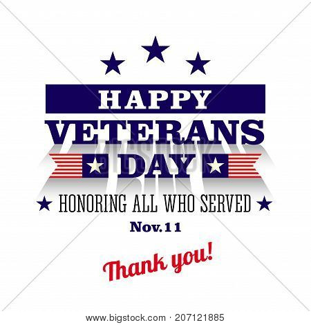 happy veterans day greeting card, white background