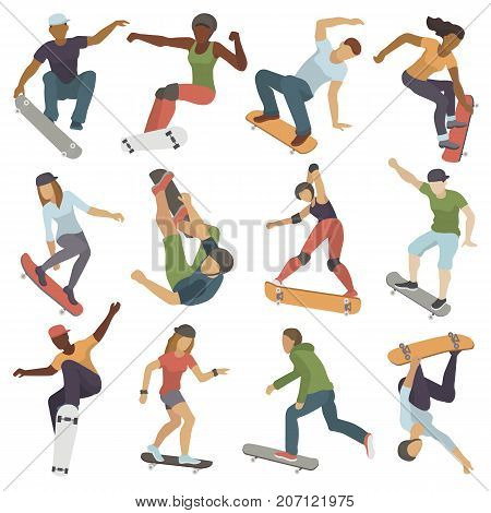 Skateboarders people tricks silhouettes collection sport extreme action active skateboarding urban young jump person vector illustration. Freestyle practice boarding teenager skatepark.