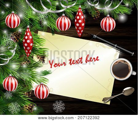 Christmas New Year design dark wooden background with christmas tree and white and red balls and wish list coffee teaspoon and pen
