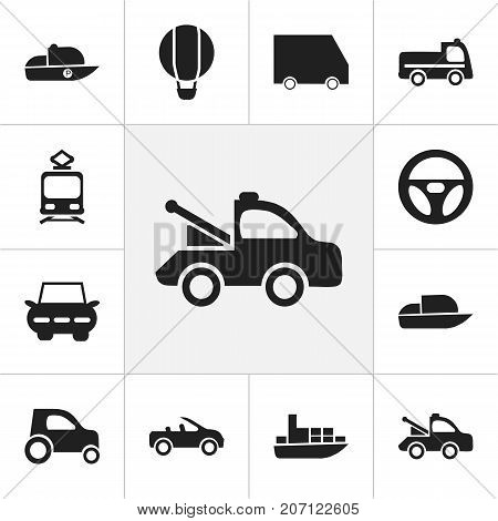 Set Of 12 Editable Transport Icons. Includes Symbols Such As Tramcar, City Drive, Drive Control And More
