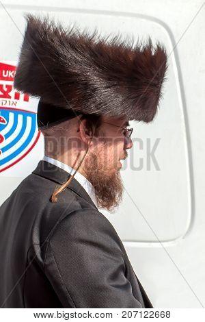 Hasid in the traditional headgear shtreimel. Uman Ukraine - 21 September 2017: Rosh Hashanah Jewish New Year