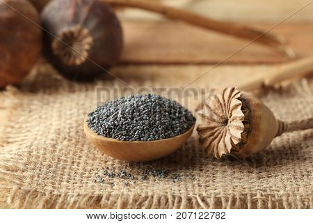 Poppy seeds and dried pod on sackcloth fabric