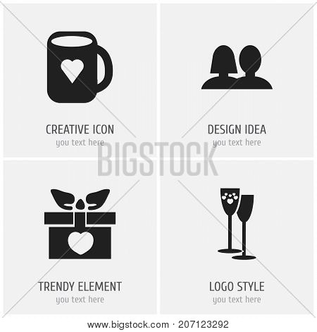 Set Of 4 Editable Love Icons. Includes Symbols Such As Tea Mug, Present, Celebration And More