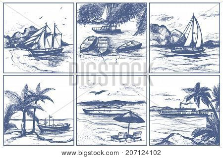 Seashore beach with palm trees sailing boats on horizon vector sketch hand drawn doodle style ships on sea illustration. Tourism vacation nautical sail art background.