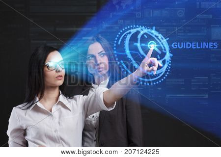 The Concept Of Business, Technology, The Internet And The Network. A Team Of Business Women Working