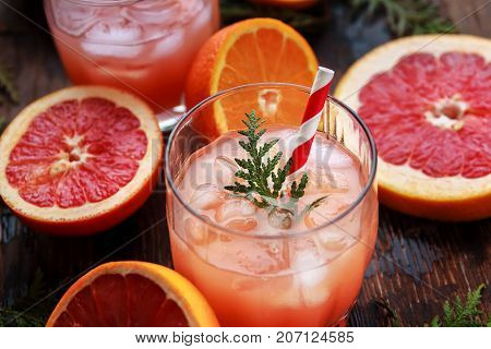 Glass Of Refreshing Alcohol Drink With Orange Juice, Vodka Or White Rum Served With Ice Orange Slice