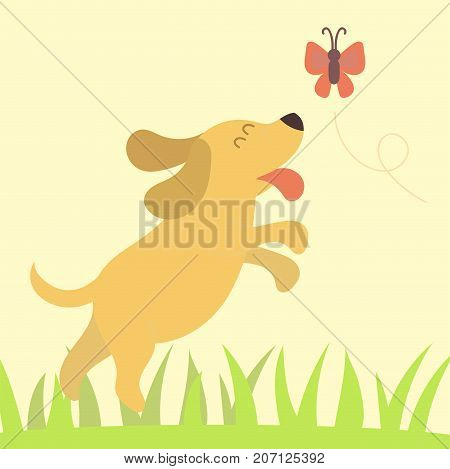 Vector illustration cute dog character funny purebred puppy comic smile happy mammal breed drawing. Pedigree terrier canine adorable animal.