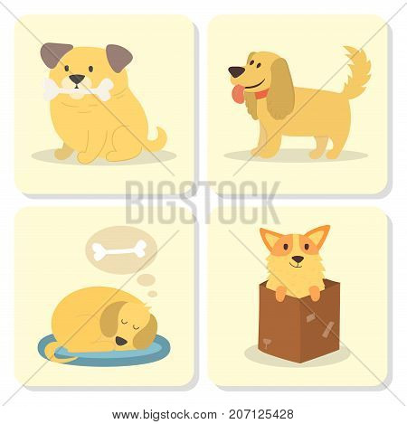 Vector illustration cute dogs characters. Set of funny purebred puppy comic cards smile happy mammal breed drawing icon. Pedigree terrier canine adorable animal.