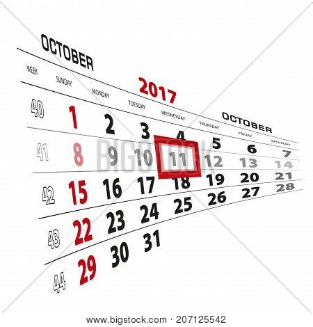 October 11, Highlighted On 2017 Calendar. Week Starts From Sunday.