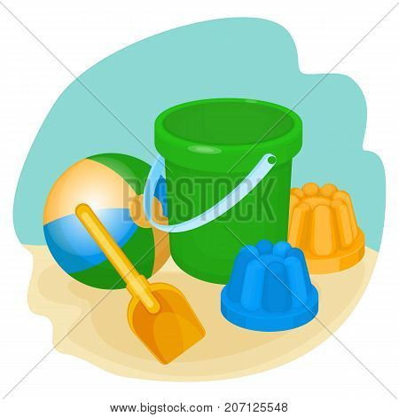 Childrens toys and supplies for games, including bucket and spade, ball and forms for making sand objects vector illustration isolated on white