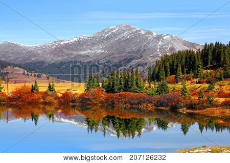 Buffehr lake Colorado in autumn time