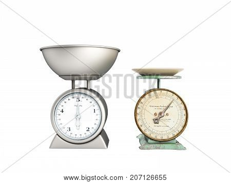 Kitchen Scales Comparison Of Old Scales New Scales 3D Render On White Background No Shadow