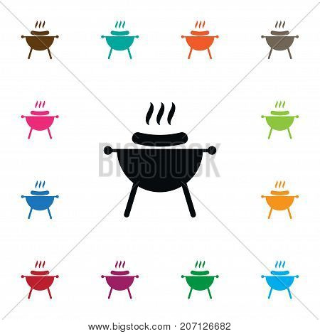 Bbq Vector Element Can Be Used For Bbq, Barbecue, Brazier Design Concept.  Isolated Brazier Icon.