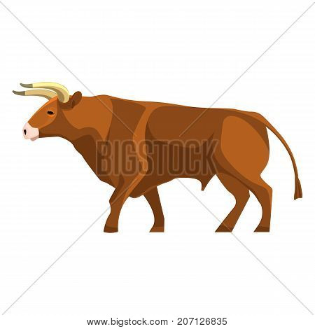 Bull full length realistic icon profile view on brown muscular and aggressive male of cow with horns vector isolated on white. Beef ranching and dairy farming animal