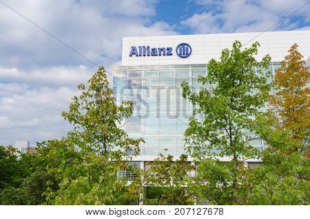 Munich Germany - August 22 2014: Allianz SE insurance company and financial investment group. Contemporary office and headquarters building in Munich.