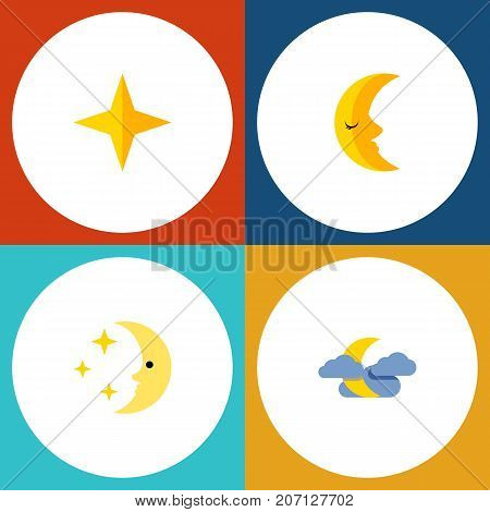 Flat Icon Bedtime Set Of Nighttime, Midnight, Moon And Other Vector Objects
