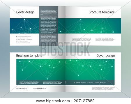 Rectangle brochure template layout, cover, annual report, magazine in A4 size with molecular background. Vector illustration.