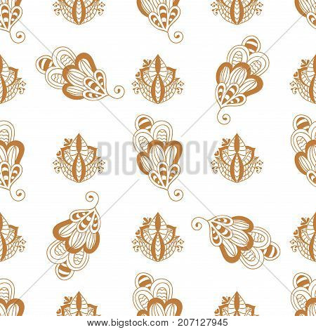 Henna tattoo brown mehndi flower template doodle ornamental lace decorative indian design seamless pattern background paisley arabesque mhendi embellishment vector. Traditional mandala