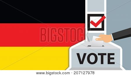 Voting. hand putting paper in the ballot box. Germany flag on background. vector illustration.