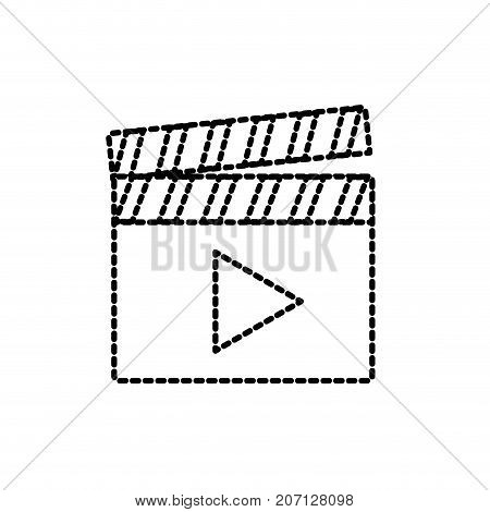 dotted shape clapperboard with video movie studio icon vector illustration
