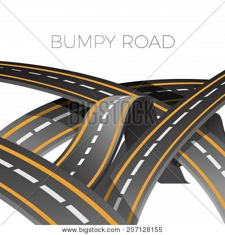 Bumpy multi-lane road icon of dangerous wave path with marking vector illustration isolated on white background.