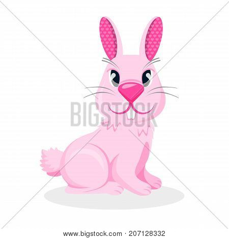 Pink bunny boy with two teeth and long ears vector illustration isolated on white background with shadow. Male rabbit hare, symbol of Easter