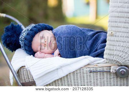 Little Newborn Baby Boy, Sleeping In Old Retro Stroller In Forest