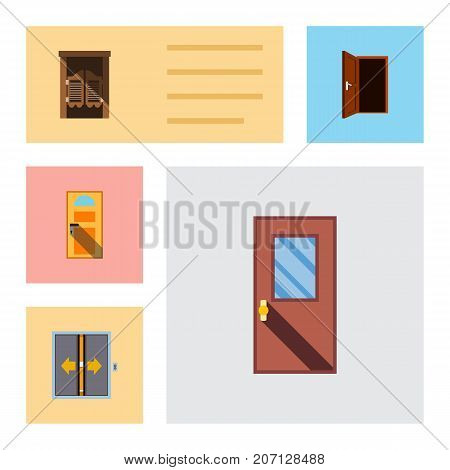 Flat Icon Approach Set Of Exit, Door, Saloon And Other Vector Objects