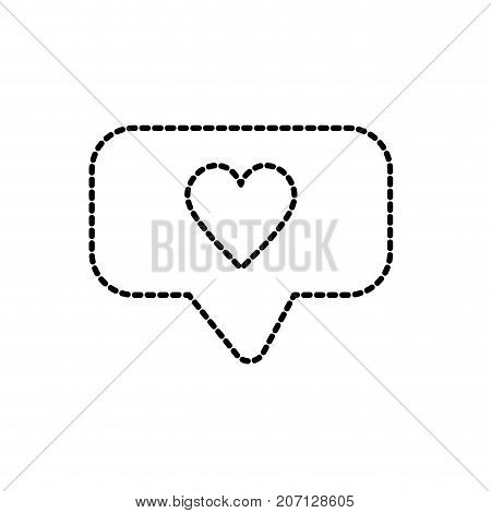 dotted shape chat bubble with heart design inside vector illustration
