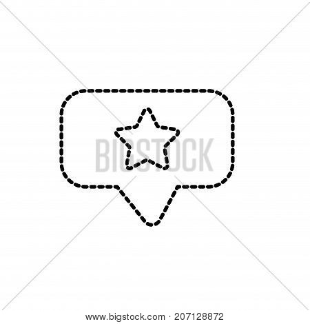 dotted shape chat bubble with star design inside vector illustration
