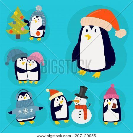 Penguin christmas vector illustration character. Cartoon funny cute animal isolated. Antarctica polar beak pole winter bird. Funny outdoors wild life south arctic.