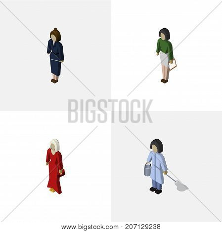 Isometric Human Set Of Pedagogue, Female, Housemaid And Other Vector Objects