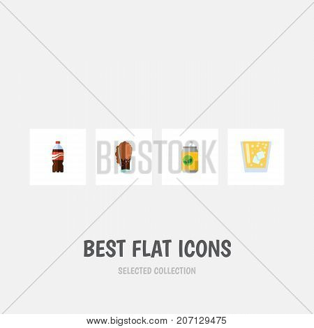 Flat Icon Beverage Set Of Bottle, Beverage, Lemonade And Other Vector Objects